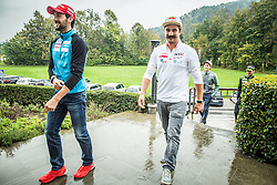 Jakov Fak, Filip Flisar, Peter Prevc during official presentation of the outfits of the Slovenian Ski Teams before new season 2015/16, on October 6, 2015 in Kulinarika Jezersek, Sora, Slovenia. Photo by Vid Ponikvar / Sportida