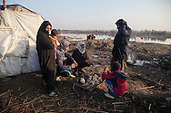 16/12/2015-Chbaish,Iraq- A family from Al-Chibaish is making a fire to warm up and to make tea in the early morning.
