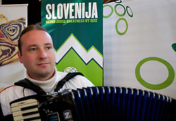 Musician Tomaz Rozanec at visit of President of Republic Slovenia dr. Danilo Turk in Slovenian House at Hyde Park High School on June 18, 2010 in Sandton, Johannesburg, South Africa. Slovenia will play their next FIFA World Cup Group C match against USA at Ellis Park in on Friday June 18, 2010, in Johannesburg, South Africa. (Photo by Vid Ponikvar / Sportida)