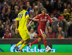 LIVERPOOL, ENGLAND - Thursday, September 16, 2010: Liverpool's Nathan Eccleston in action against FC Steaua Bucuresti's Eder Bonfim during the opening UEFA Europa League Group K match at Anfield. (Photo by David Rawcliffe/Propaganda)