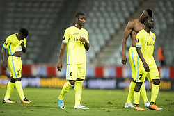 August 3, 2017 - Altach, AUSTRIA - Gent's Moses Simon, Gent's Mamadou Sylla, Gent's Kalifa Coulibaly and Gent's Nana Asare shows defeat after a soccer game between Austrian team SC Rheindorf Altach and Belgian club KAA Gent, the return leg of the third qualifying round for the UEFA Europa League competition, Thursday 03 August 2017 in Altach, Austria. The first leg resulted in a 1-1 draw. BELGA PHOTO JASPER JACOBS (Credit Image: © Jasper Jacobs/Belga via ZUMA Press)