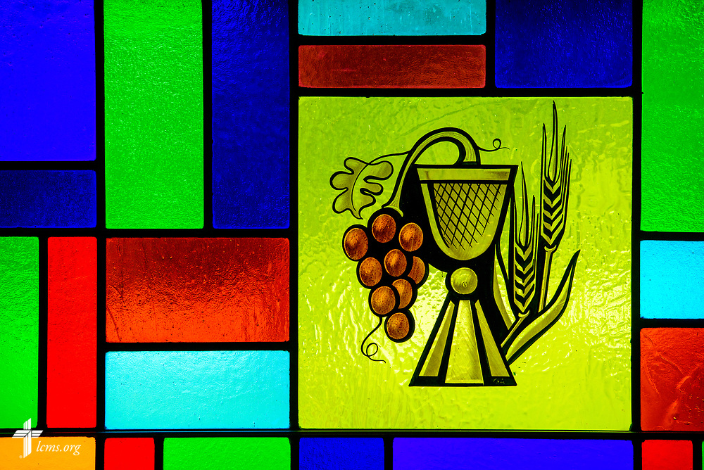 Stained glass depicting the body and blood of Jesus Christ through the bread and wine at Zion Lutheran Church, Worms, Neb., on Saturday, Sept. 23, 2017. LCMS Communications/Erik M. Lunsford