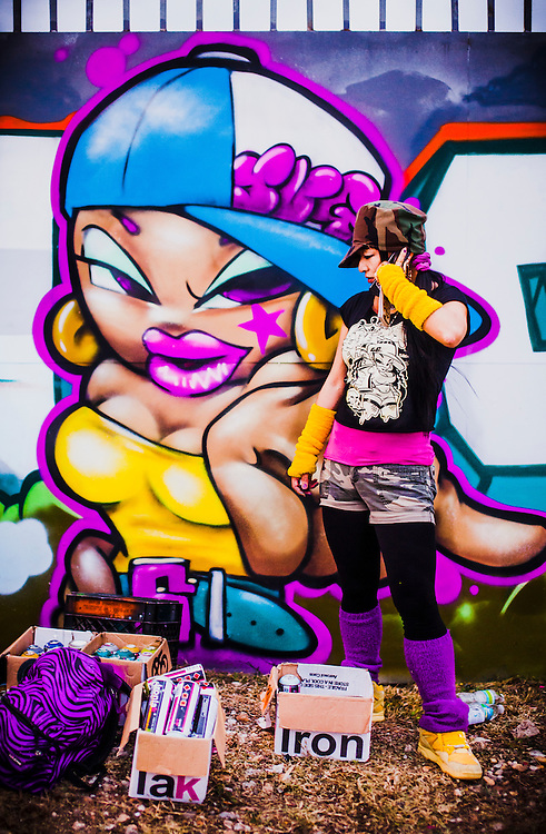 Graffiti artist Shiro from Japan was one of those painting murals on the legal, sanctioned art walls in Miami's funky Wynwood district during Art Basel 2010.