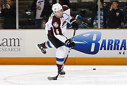March 1, 2011; San Jose, CA, USA;  Colorado Avalanche defenseman Erik Johnson (6) warms up before the game against the San Jose Sharks at HP Pavilion.  San Jose defeated Colorado 2-1 in shootouts. Mandatory Credit: Jason O. Watson / US PRESSWIRE