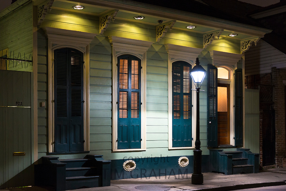 Residential neighbourhood and quaint street lamp on Bourbon Street in French Quarter of New Orleans, Louisiana, USA
