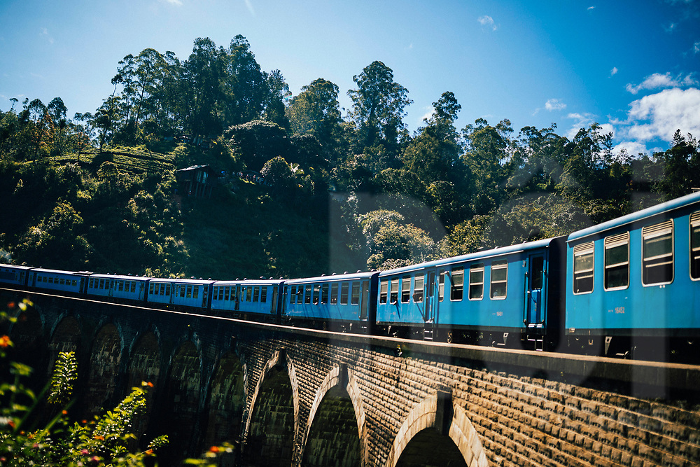 A train makes its way over Nine Arches Bridge, Ella, Sri Lanka, Asia
