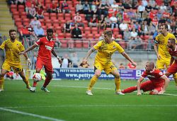 James Clarke of Bristol Rovers goes close for Bristol Rovers - Mandatory byline: Neil Brookman/JMP - 07966386802 - 29/08/2015 - FOOTBALL - Matchroom Stadium -Leyton,England - Leyton Orient v Bristol Rovers - Sky Bet League Two