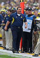 November 05, 2011: Michigan Wolverines head coach Brady Hoke on the sidelines during the first quarter of the NCAA football game between the Michigan Wolverines and the Iowa Hawkeyes at Kinnick Stadium in Iowa City, Iowa on Saturday, November 5, 2011. Iowa defeated Michigan 24-16.