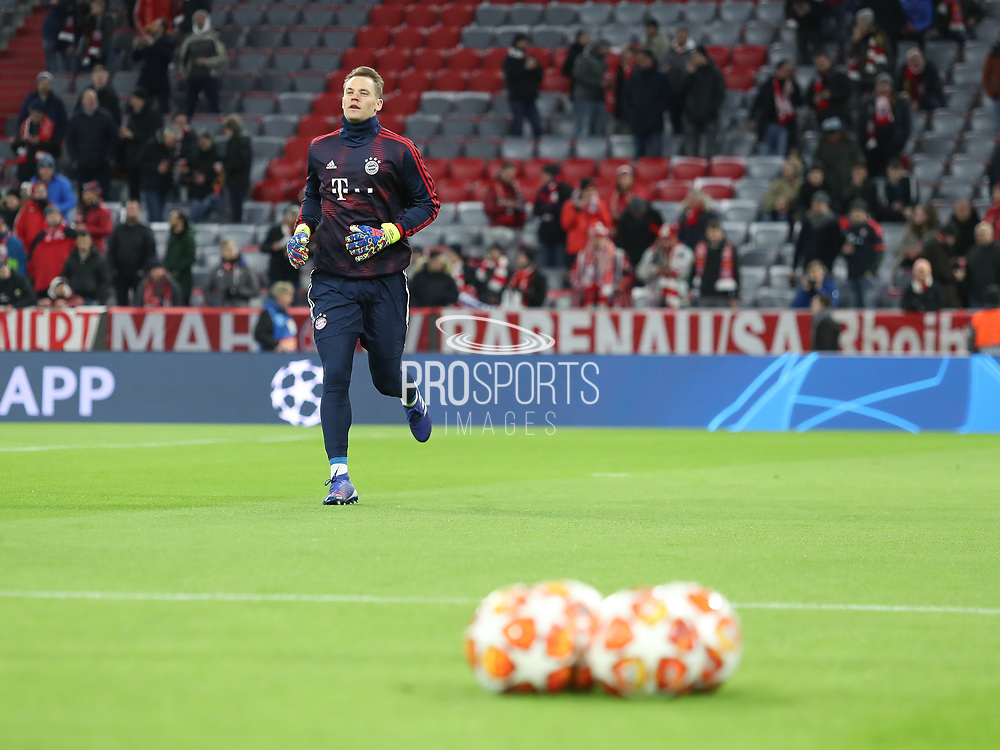 Manuel Neuer of Bayern Munich warms up during the Champions League round of 16, leg 2 of 2 match between Bayern Munich and Liverpool at the Allianz Arena stadium, Munich, Germany on 13 March 2019.