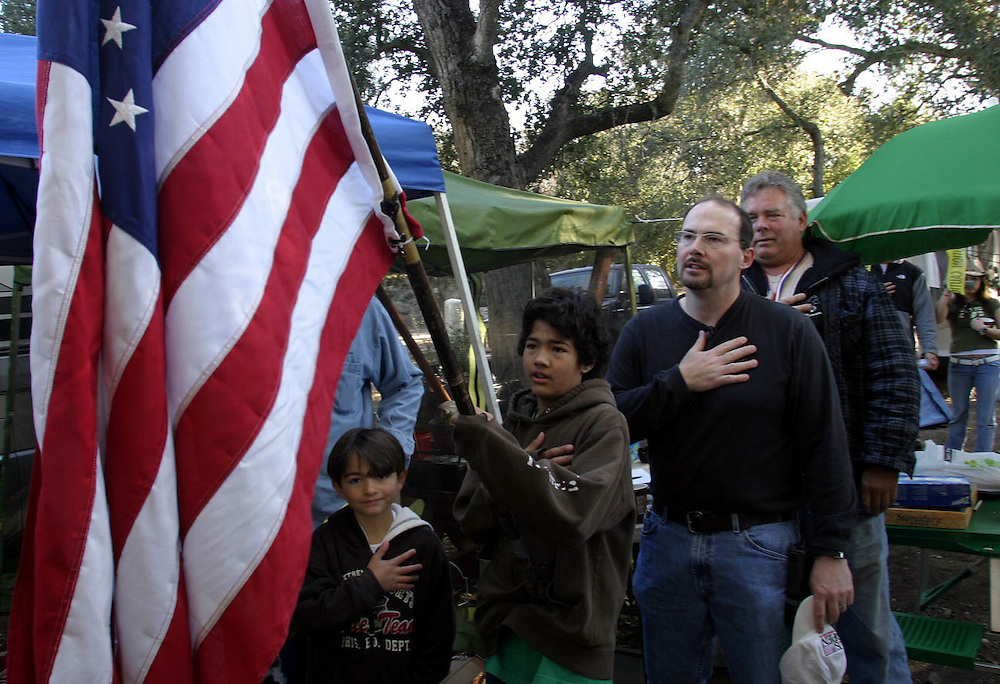 Tim Donnelly a spokesman of the Minuteman project  and his san swear to the flag in the morning at the locate at the Outdoor World RV Park in Boulevard about 65 miles (104.6 km) east of downtown San Diego.