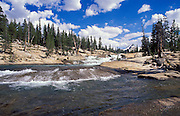 Cascade on the Tuolumne River under Cathedral Peak in the Tuolumne Meadows area, Sierra Nevada Mountains, Yosemite National Park, California