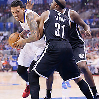 16 November 2013: Los Angeles Clippers small forward Matt Barnes (22) drives past Brooklyn Nets shooting guard Jason Terry (31) during the Los Angeles Clippers 110-103 victory over the Brooklyn Nets at the Staples Center, Los Angeles, California, USA.