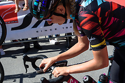 Alena Amialiusik (CANYON//SRAM Racing) configures her Garmin ahead of the race start at Giro Rosa 2016 - Stage 5. A 77.5 km road race from Grosio to Tirano, Italy on July 6th 2016.