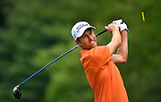 Jul 29, 2016; Springfield, NJ, USA; Webb Simpson hits his tee shot on the sixth hole during the second round of the 2016 PGA Championship golf tournament at Baltusrol GC - Lower Course. Mandatory Credit: Eric Sucar-USA TODAY Sports
