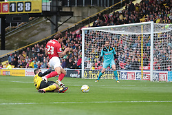 Charlton Athletic's Lawrie Wilson is brought down in the box  - Photo mandatory by-line: Nigel Pitts-Drake/JMP - Tel: Mobile: 07966 386802 14/09/2013 - SPORT - FOOTBALL -  Vicarage Road - Hertfordshire - Watford V Charlton Athletic - Sky Bet Championship