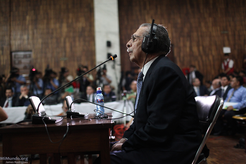 Efrain Rios Montt, former de facto head of state accused of Genocide against the Ixil Mayan people, finally takes the stand. Guatemala City, Guatemala. May 9, 2013.