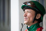Maker's Mark Breeders' Cup Filly & Mare Turf (Race 6) (Turf) <br /> November 3, 2018: Frankie Dettori and Eziyra prepare for the Maker's Mark Breeders' Cup Filly & Mare Turf on Breeders' Cup World Championship Saturday at Churchill Downs on November 3, 2018 in Louisville, Kentucky.