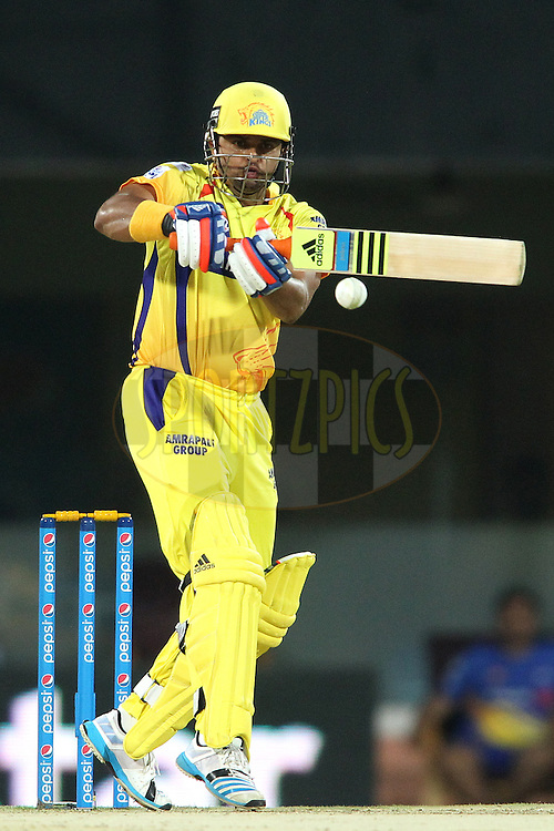 Suresh Raina of Chennai Super Kings attempts to pull a delivery during match 43 of the Pepsi IPL 2015 (Indian Premier League) between The Chennai Super Kings and The Mumbai Indians held at the M. A. Chidambaram Stadium, Chennai Stadium in Chennai, India on the 8th May April 2015.<br /> <br /> Photo by:  Shaun Roy / SPORTZPICS / IPL