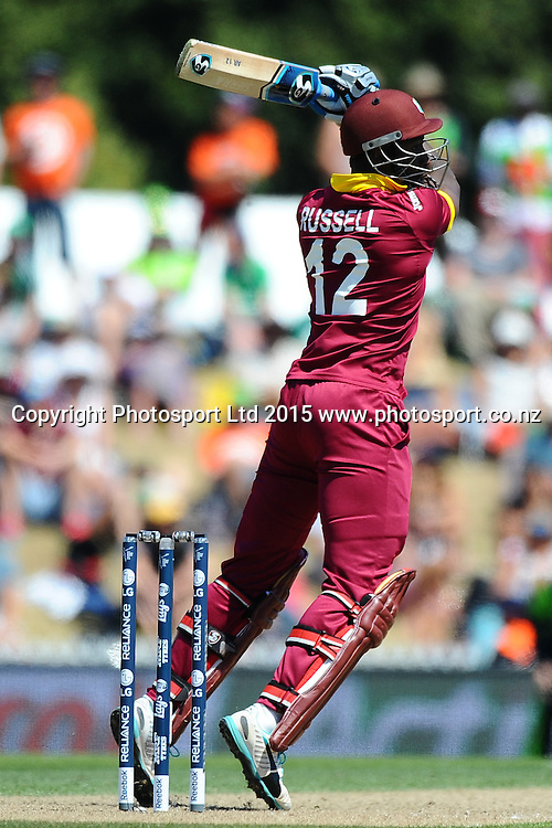 West Indies player Andre Russell during the 2015 ICC Cricket World Cup match between West Indies and Ireland. Saxton Oval, Nelson, New Zealand. Monday 16 February 2015. Copyright Photo: Chris Symes / www.photosport.co.nz