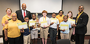 Harris County Department of Education Superintendent James Colbert poses for a photograph with members of the ABS West Chess team after a tournament against ABS East, May 22, 2019.