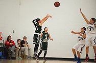Rice guard Leah Larivee (1) takes a shot during the girls basketball game between the Rice Green knights and the Mount Mansfield Cougars at MMU High School on Friday night December 4, 2015 in Jericho. (BRIAN JENKINS/for the FREE PRESS)