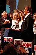 Los Angeles, CA, USA, 07.10.2003: Arnold Schwarzenegger celebrates his landslide victory over Lt. Governor Cruz Bustamante in the Recall Election in California at the Century Plaza Hotel.<br /> <br /> Mr. Schwarzenegger holds his speech to his volunteers. Next to him stands his wife Maria Shriver.<br /> <br /> Photo: Orjan F. Ellingvag/ Dagbladet/ Getty