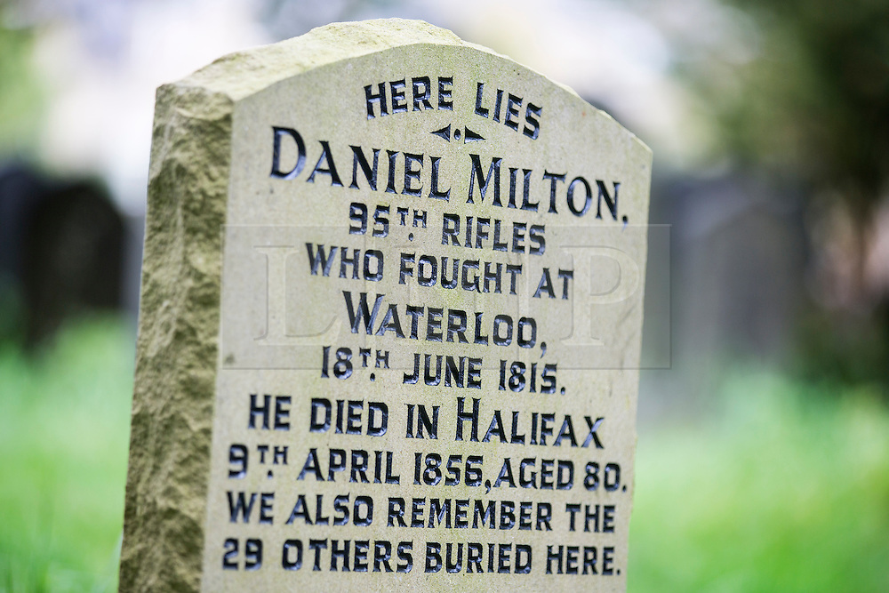 © Licensed to London News Pictures. 21/10/2015. Halifax, UK. Picture shows the restored headstone of Daniel Milton who fought at the battle of Waterloo at the Victorian Grade 2 listed Lister Lane Cemetery in Halifax that dates back to 1841 & has been recognised as a Significant Cemetery in Europe, one of only 13 in the UK putting it alongside such famous cemeteries as Highgate in London. The cemetery houses burial plots of James Uriah Walker who was the owner of the Halifax Guardian & the first person to publish the Bronte sister's work, The Crossley family who's mill became the largest carpet manufacturing business in the world & numerous veterans of the battle of Waterloo. Photo credit: Andrew McCaren/LNP
