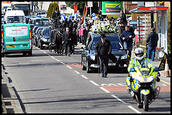 The funeral of the former general secretary of the RMT union Bob Crow  in Woodford Green, North East, London, United Kingdom. Monday, 24th March 2014. Picture by Andrew Parsons / i-Images