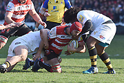 Gloucester lock Mariano Galarza tackled during the Aviva Premiership match between Gloucester Rugby and Wasps at the Kingsholm Stadium, Gloucester, United Kingdom on 24 February 2018. Picture by Alan Franklin.