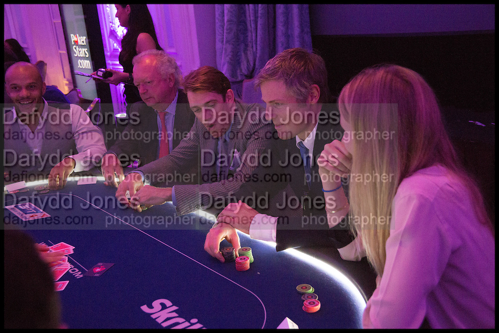 OLAF ROGGE; BEN ELLIOT; ZACH GOLDSMITH; ALICE GOLDSMITH, Quintessentially Foundation Poker Night,  annual poker night,  to raise money for Right to play, Greenhouse and Place2Be. Savoy. 13 November 2014.