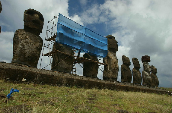 Easter Island is one of the most remotely inhabited places on earth. Known for it's massive statues (called Moai) which represent ancestors, Easter Island's native population almost went extinct during a Moai building boom that occurred in the 19th century.