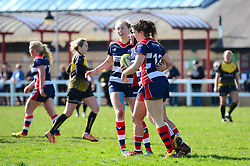 Phoebe Murray of Bristol Ladies celebrates her try with team mates - Mandatory by-line: Dougie Allward/JMP - 26/03/2017 - RUGBY - Cleve RFC - Bristol, England - Bristol Ladies v Wasps Ladies - RFU Women's Premiership