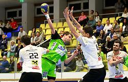 13.02.2016, BSFZ Südstadt, Maria Enzersdorf, AUT, HLA, SG INSIGNIS Handball WESTWIEN vs HSG Raiffeisen Bärnbach/Köflach, Unteres Play Off, 2. Runde, im Bild Philipp Moritz (Baernbach/Koeflach), Simon Pratschner (WestWien), Alen Kulenovic (Baernbach/Koeflach)// during Handball League Austria, 2 nd round match between SG INSIGNIS Handball WESTWIEN and HSG Raiffeisen Bärnbach/Köflach at the BSFZ Südstadt, Maria Enzersdorf, Austria on 2016/02/13, EXPA Pictures © 2016, PhotoCredit: EXPA/ Sebastian Pucher