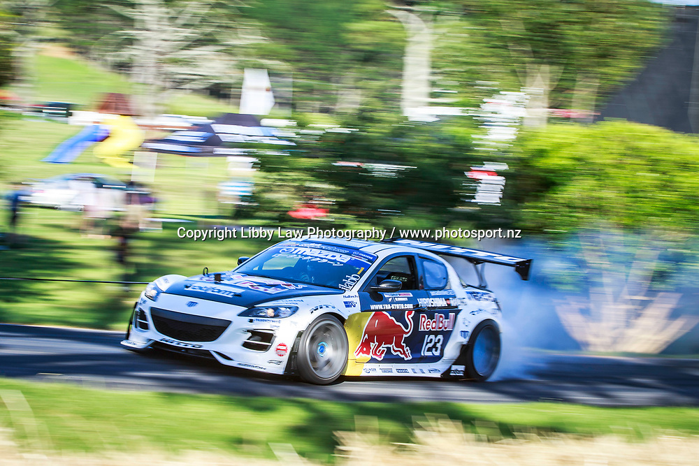 Mad Mike Whiddett drives the 2004 Badbul Mazda SP3 RX8 during the first day of the 2018 Leadfoot Festival at Rod and Shelly Millen's private grounds at Leadfoot Ranch near Hahei on the Coromandel Peninsular, New Zealand. Saturday 3 February. Copyright Photo: Libby Law Photography