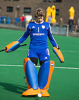 ROTTERDAM -  Warming Up Netherlands. Flip Wijsman of the Neth.  Practice Match  Hockey : Netherlands Boys U16  v England U16 . COPYRIGHT KOEN SUYK