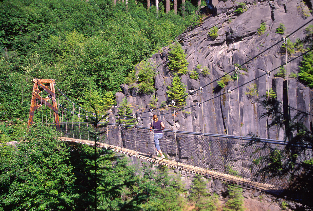 Suspension Bridge at Lava Canyon, Mt. St. Helens National Volcanic Monument, Washington, US