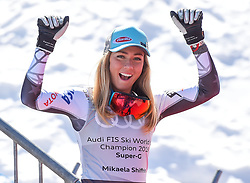 14.03.2019, Soldeu, AND, FIS Weltcup Ski Alpin, SuperG, Damen, im Bild Mikaela Shiffrin (USA, Siegerin Slalom, Riesenslalom, Super G und Gesamteltcup) // Winner of the Slalom Giant Slalom Super G and Overal World Cup Mikaela Shiffrin of USA racts after her run for the ladie's downhill of FIS Ski Alpine World Cup finals. Soldeu, Andorra on 2019/03/14. EXPA Pictures © 2019, PhotoCredit: EXPA/ Erich Spiess