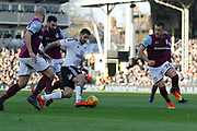 Fulham forward Aleksandar Mitrovic (32) with a dangerous attack during the EFL Sky Bet Championship match between Fulham and Aston Villa at Craven Cottage, London, England on 17 February 2018. Picture by Andy Walter.