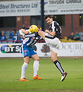 Kilmarnock&rsquo;s Conrad Balatoni can't stop Dundee&rsquo;s Julen Etxabeguren winning a header - Dundee v Kilmarnock, Ladbrokes Scottish Premiership at Dens Park<br /> <br />  - &copy; David Young - www.davidyoungphoto.co.uk - email: davidyoungphoto@gmail.com