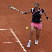 Svetlana Kuznetsova, Russia, during her Women's Singles Final victory over Dinara Safina, Russia, at the French Open Tennis Tournament at Roland Garros, Paris, France on Saturday, June 6, 2009. Photo Tim Clayton