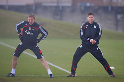 LIVERPOOL, ENGLAND - Friday, March 28, 2008: Liverpool's Sami Hyypia and captain Steven Gerrard MBE training at Melwood ahead of the Merseyside Derby match against Everton. (Photo by David Rawcliffe/Propaganda)