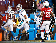 CHARLOTTE, NC - JAN 24:  Wide receiver Ted Ginn, Jr. #19 of the Carolina Panthers (left) is escorted by quarterback Cam Newton #1 on his way to a first quarter touchdown during the NFC Championship game against the Arizona Cardinals at Bank of America Stadium on January 24, 2016 in Charlotte, North Carolina.