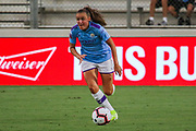 Manchester City forward Georgia Stanway (10) dribbles the ball upfield in a game against the North Carolina Courage during an International Champions Cup women's soccer game, Thurday, Aug. 15, 2019, in Cary, NC. The North Carolina Courage defeated Manchester City Women 2-1.  (Brian Villanueva/Image of Sport)