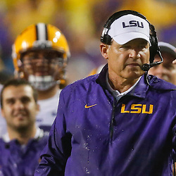 Sep 21, 2013; Baton Rouge, LA, USA; LSU Tigers head coach Les Miles against the Auburn Tigers during the second quarter of a game at Tiger Stadium. Mandatory Credit: Derick E. Hingle-USA TODAY Sports