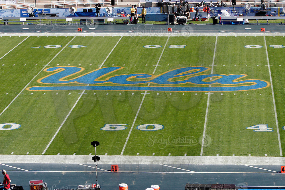 2 December 2006: UCLA logo at center field with fresh grass at the stadium. Pac-10 college football upset UCLA beat the Trojans 13-9 during the final home game of the season for the UCLA Bruins vs the University of Southern California USC  Trojans at the Rose Bowl in Pasadena, CA.<br />