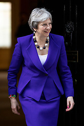 © Licensed to London News Pictures. 18/04/2018. London, UK. Prime Minister Theresa May leaves 10 Downing Street to greet New Zealand Prime Minister Jacinda Ardern. Photo credit: Rob Pinney/LNP