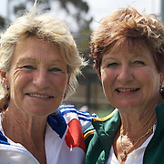 Carol Campling, Australia, (right) and her sister Gail Lovera-Benedetti, France, who represent different countries  during the 2009 ITF Super-Seniors World Team and Individual Championships at Perth, Western Australia, between 2-15th November, 2009.