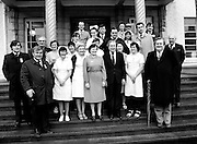 Fianna Fáil leader Charles Haughey surrounded by staff on the steps of Clonakilty County Hospital. Haughey was touring West Cork during the 1982 election campaign. <br /> 4 February 1982