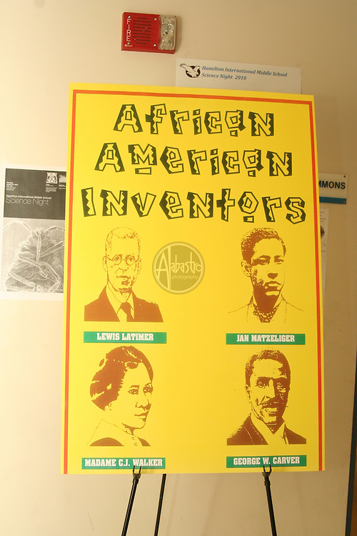 science historian Delbert Richardson presenting history of African American Inventors at Hamilton International Middle School Science Night 2010