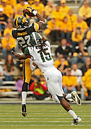 October 6 2013: Iowa Hawkeyes wide receiver Damond Powell (22) can't pull in a pass as Michigan State Spartans cornerback Trae Waynes (15) closes in during the second half of the NCAA football game between the Michigan State Spartans and the Iowa Hawkeyes at Kinnick Stadium in Iowa City, Iowa on October 6, 2013. Michigan State defeated Iowa 26-14.